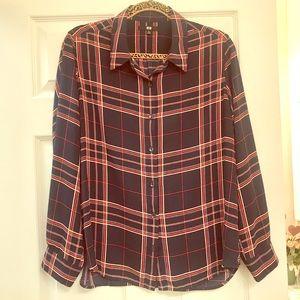 EUC Uniqlo Button Up Red White & Blue Shirt